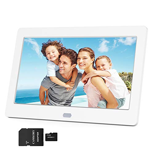 Camkory Digital Photo Frame 1280x800 Hi-Res 16:9 7 inches IPS Screen + 32GB SD Card Support 1080P Videos, Photos Auto Rotate, Wide Screen, Support USB, SD, MMC, and MS Card(White)