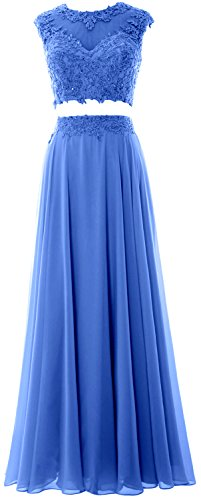 MACloth Women 2 Piece Long Prom Dress Lace Chiffon Formal Party Evening Gown Azul