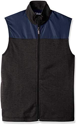 IZOD Men's Big and Tall Advantage Performance Spectator Colorblock Fleece Vest, Bone Asphault, 3X-Large