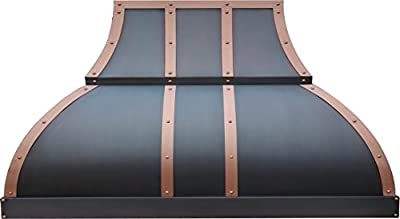 "Kitchen Hood Copper Best H1 362127S Ducted Copper Range Hood over the Stove 36"" Wall Oil Rubbed Bronze Finish 660cfm Vent"