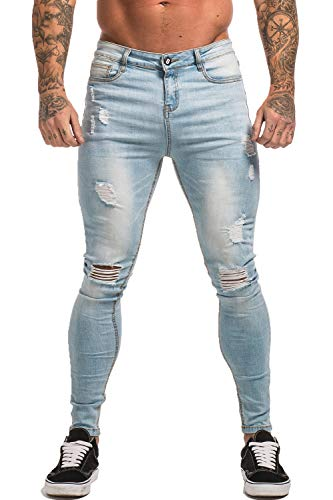 GINGTTO Light Blue Jeans for Men Ripped Slim Fit Tapered Leg Jeans Fashion 30 ()