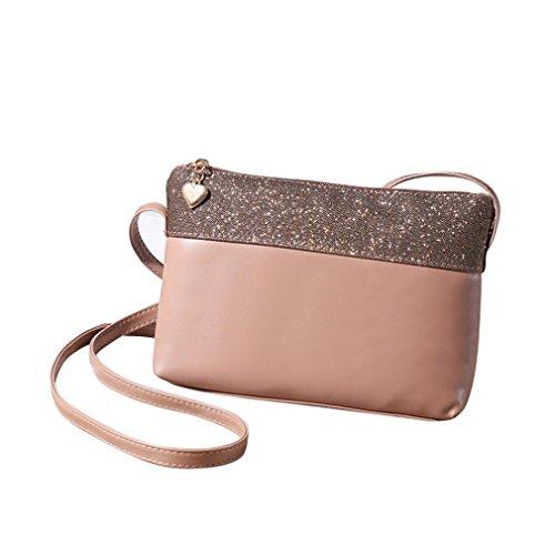 PU Leather Shoulder Bag,Hemlock Girls Shining Handbag Satchel Purse Bags (Khaki)