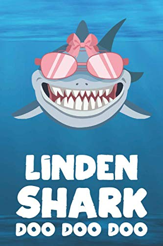 Linden - Shark Doo Doo Doo: Blank Ruled Personalized & Customized Name Shark Notebook Journal for Girls & Women. Funny Sharks Desk Accessories Item ... Birthday & Christmas Gift for Women. (Linden Dollars)