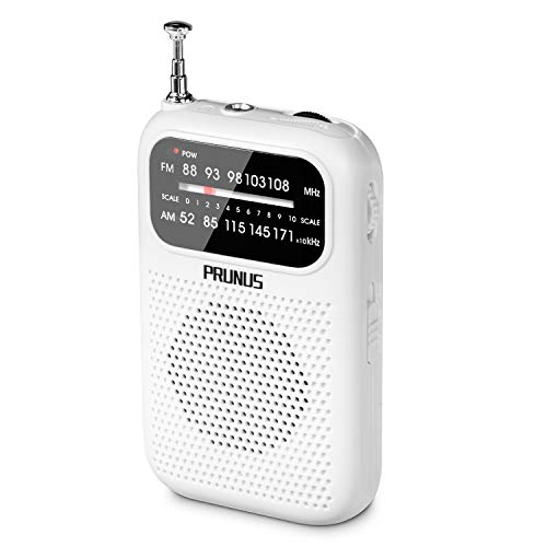 Portable Pocket Radio AM FM Transistor Radio Battery Operated, Stereo Headphones Jack, Excellent Reception(White)