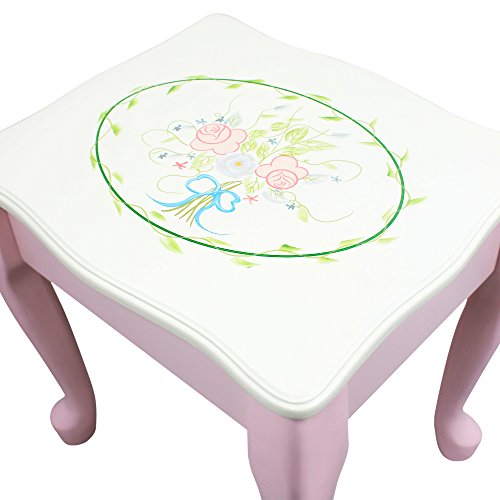 Fantasy Fields - Bouquet Thematic Kids Classic Vanity Table and Stool Set with Mirror | Imagination Inspiring Hand Crafted & Hand Painted Details   Non-Toxic, Lead Free Water-based Paint by Teamson Design Corp (Image #7)