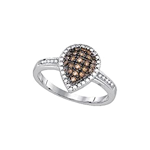 Sterling Silver Womens Round Cognac-brown Colored Diamond Teardrop Frame Ring 1/5 Cttw