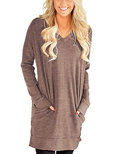 - Roshop Women's Casual V-Neck Long Sleeves Pocket Solid Color Sweater Shirts Tunic Blouse Tops (Linen Brown, XL)