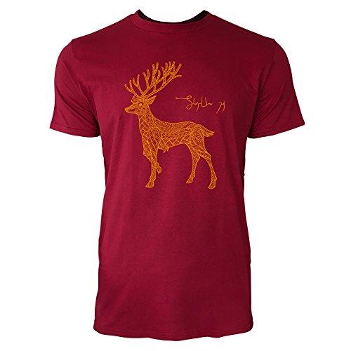 SINUS ART ® Rentier mit Ornamenten Herren T-Shirts in Independence Rot Fun Shirt mit tollen Aufdruck