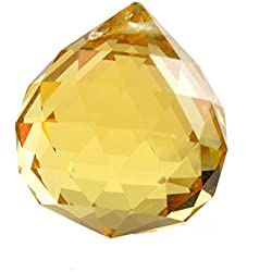 H&D 10pcs 30mm Faceted Crystal Ball Chandelier Prisms Ceiling Lamp Lighting Hanging Drop Pendants Wedding Decoration (Yellow)