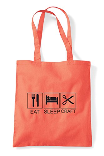 Bag Activity Tote Sleep Eat Funny Hobby Shopper Craft Tiles Coral XYgqXPw0