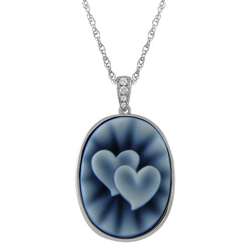 Bright Blue Dot Oval Double Heart Agate Cameo and Created White Sapphire Pendant in Sterling Silver, - Pendant Blue Agate Cameo