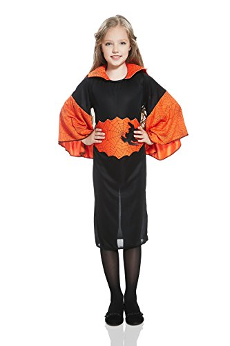 Unusual Halloween Outfits - Kids Gilrs Spider Costume Witch Sorceress Enchantress Halloween Outfit &Dress Up (6-8 years, Red/Black)