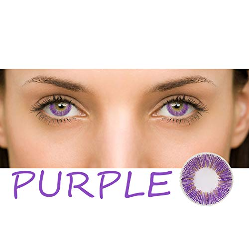 Multicolor Cute Charm and Attractive Daily Fashion Eyes Lenses Eyes Makeup Eye Shadow Cosplay Party (A Pair) (Purple) ()