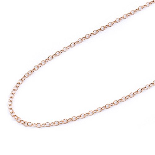 14k Rose Gold 1.5mm Cable Chain, (14kt Rose Pendant)