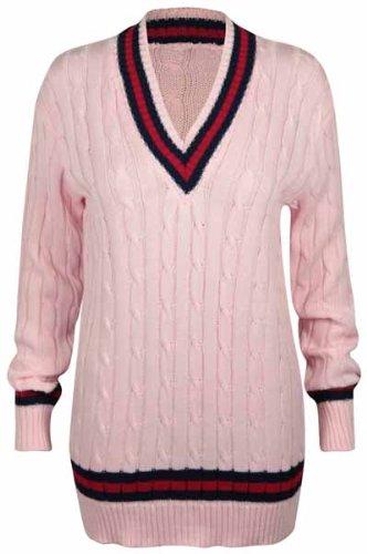Hanger Femme Purple Pull Bande Rose Cricket Longue Manche V Col Tricot Style Haut TqH4SHWUd