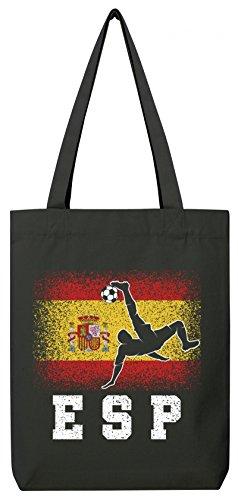 ShirtStreet Spanien Espana Fußball WM Fanfest Gruppen Premium Bio Baumwoll Tote Bag Jutebeutel Stanley Stella Spain Football Player Black