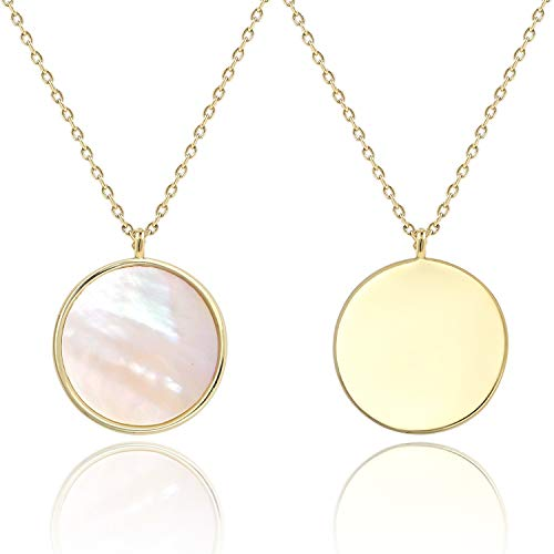 (COZLANE 14k Gold Mother of Pearl Shell Round Pendant Double Sided Necklace for Valentine's Day)