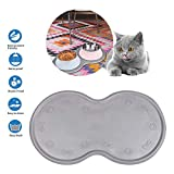 DS Pet Feeding Mat Cat & Dog Mats for Food & Water - Flexible and Easy to Clean Feeding Mat - Non-Slip Waterproof Feeding Mat for Dog Food & Water Bowls Nontoxic Rubber Gray