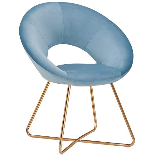 Modern Accent Chair,Home Office Arm Chair Mid-Century Leisure Upholstered Chairs Velvet Cushion for Living Room Easy Assembly Light Blue