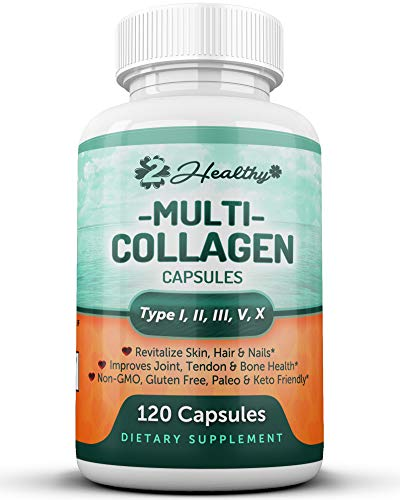 Multi Collagen Peptides Pills - Type I, II, III, V, X - 120 Capsules - Natural Grass Fed Bone Broth Supplement, Clinically Effective Hydrolyzed Collagen Protein for Women, Skin Health Joint Anti Aging