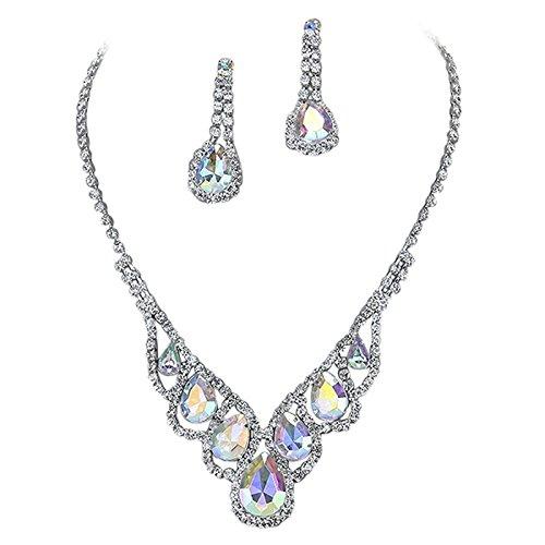 Set Rhinestone Ab Necklace - Purplebox Fashion Jewelry Iridescent Ab Droplets Rhinestone Prom Necklace Set