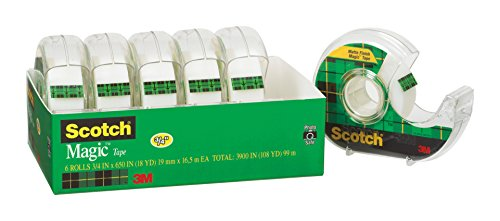 Scotch Magic Tape and Refillable Dispenser, Writeable, 3/4 x 650 Inches, 6-Pack (6122)