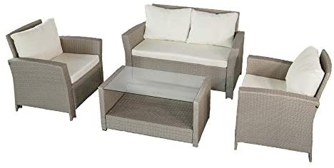 Aktive 61012 Set muebles jardín en ratán, Multicolor: Amazon.es ...
