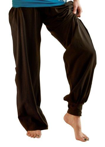 BNatyam Women's Organic Cotton Chakra Yoga Pants-Black-Small (Rollover Pants Lounge)