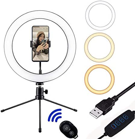 """USB 10.2"""" Selfie Ring Light with Stand & Flexible Phone Holder,3 Light Modes & 10 Brightness,Desktop Ringlight for Tiktok/YouTube Video/Live Stream/Makeup,Remote Control Compatible with iPhone Android"""