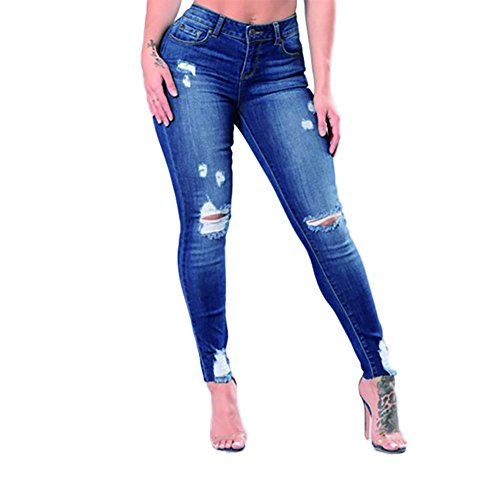 VICVIK Skinny Denim Sexy Hole Jeans for Women Flare Tron Stylish Rock Roll Elastic Jean Pants (XL, Dark Blue)