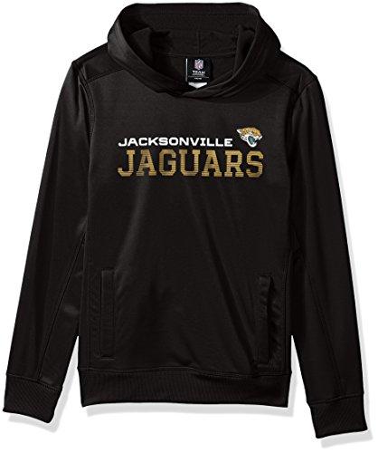 (Outerstuff NFL Youth Boys Next Level Performance Fleece Hood-Black-M(10-12), Jacksonville Jaguars)