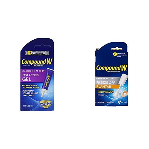 Compound W Fast Acting Wart Removal Gel - Maximum Strength .25 Ounce Gel -2 Tubes and Compound W-Maximum Freeze-Freeze Off Plantar -8 Applications & 8 Cushion Pads Kit