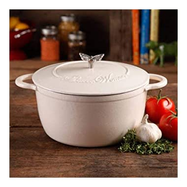 The Pioneer Woman Timeless Beauty 5-Quart Cast Iron Dutch Oven with Stainless Steel Butterfly Knob (Linen)