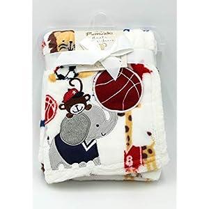 Luxury Soft Fleece Baby Blanket (White/Blue)