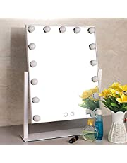 Makeup Mirror,Hollywood Mirror with 15pcs Led Lights Dressing Table Vanity Mirror Led Mirror (White)