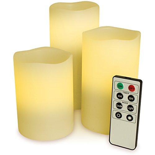 CampTeck 3er Set Flammenlose Echtwachs LED Kerzen Batteriebetriebene mit Timer und Fernbedienung