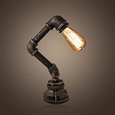 BAYCHEER HL409258 Industrial Retro Vintage style Water Pipe Desk Lamp Table Lamp with switch in Antique Iron Finish use 1 E26/27 Bulb