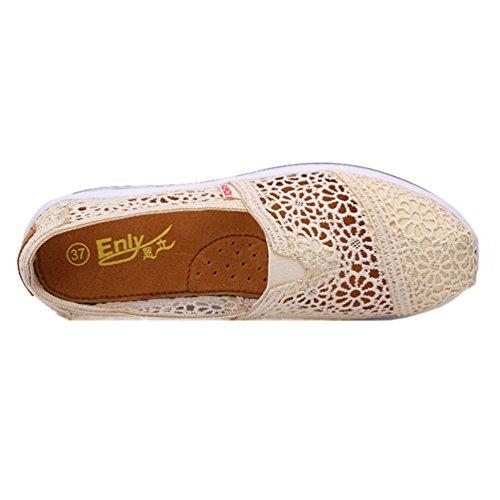 Filets Jrenok De Confortable Athlétique Sneakers Marche Running Baskets Femme Beige Compensées Chaussures Respirant Creux RRXqB