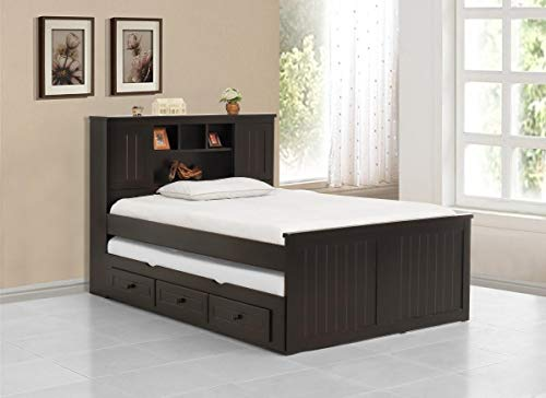 - 3Pc Full Bookcase Captain Bed Set Including Trundle- Mahogany