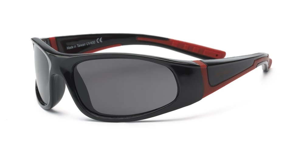 Real Kids Shades Bolt Sunglasses for Kid, Youth - 100% UVA UVB Protection, Polycarbonate Lenses, Unbreakable, Wrap Around Frames (Youth 7+, Black/Red, Polarized)