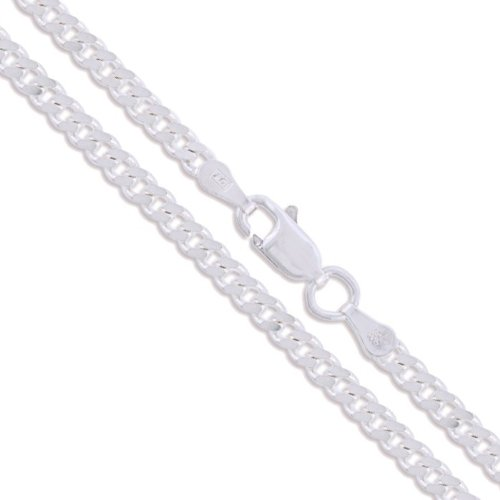 Sterling Silver Italian Curb Chain 2mm Solid 925 Italy 2 Sided New Necklace 22