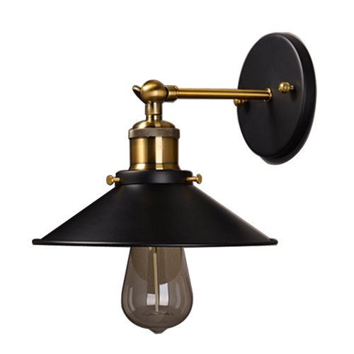 5151BuyWorld American Vintage Schmiedeeisen Wandleuchte Lampen Loft Land Single Head Lights [Schwarz, 26CM]