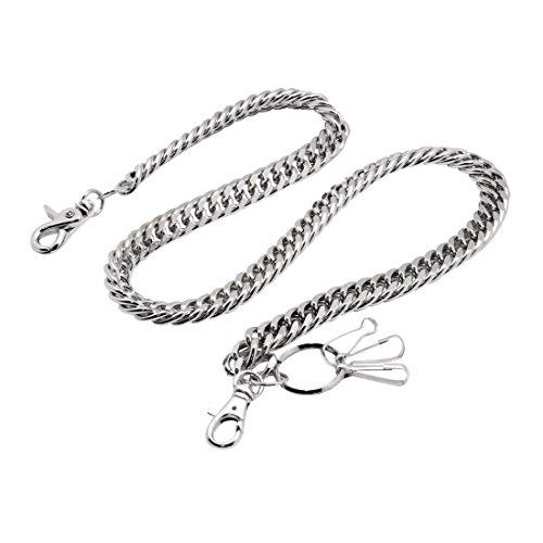 Uniqsum Heavy Thick Cut Links wallet chain Swivel Trigger snap Biker Punk Key chain (Silver)