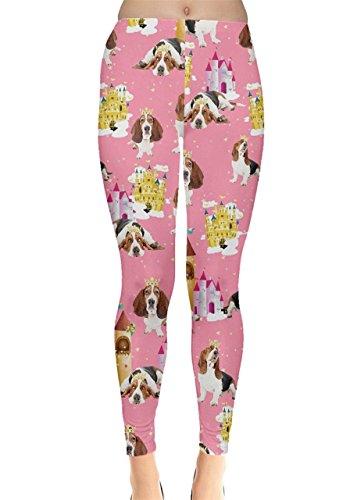 CowCow Womens Basset Hound Puppy Pink Leggings, Pink - M