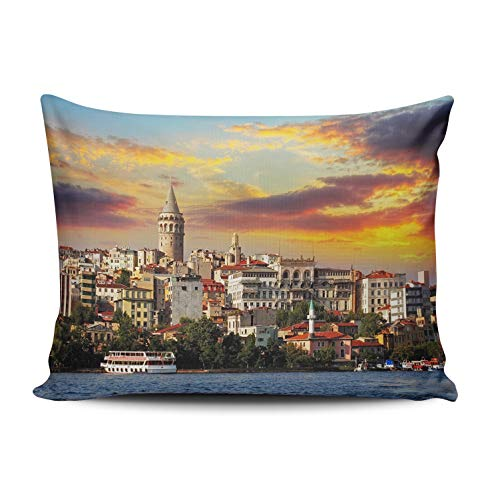 WEINIYA Bedroom Custom Decor Beautiful Istanbul at Sunset Galata District Throw Pillow Cover Elegant Design One Side Printed Patterning Boudoir 12x18 Inches