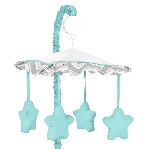 Sweet Jojo Designs Turquoise and Gray Chevron Zig Zag Musical Baby Crib Mobile