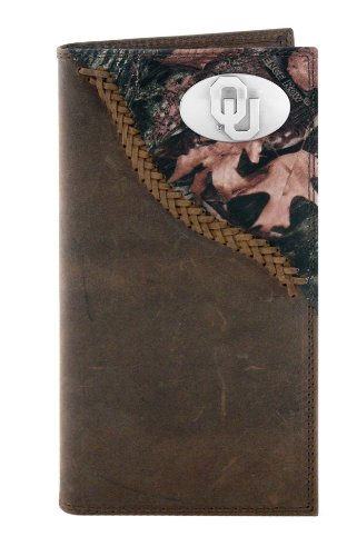 NCAA Oklahoma Sooners Camouflage Leather Roper Concho Wallet, One Size