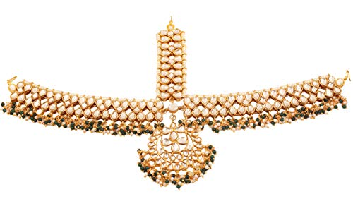 Touchstone New Indian Bollywood Desire Marvelous and Majestic Mughal Era Chandbaali Theme Kundan Polki Look Exclusive Bridal Jewelry Mathapatti (Head Decorative Accessory) in Gold Tone for ()