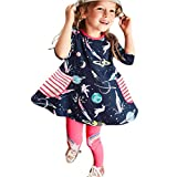 Kids Clothes,BaZhaHei  Children Kids Girls Spring Autumn Casual Cotton Long Sleeves Printed Dresses Outfits Clothes Romper Girls Outwear Fashion Girls Dress Tops Outfits Partywear (7Y, Durk Blue)
