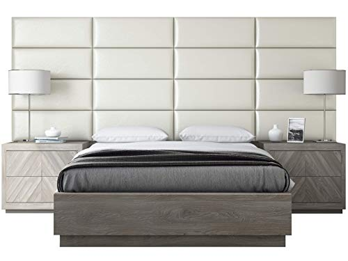 VANT Upholstered Headboards - Accent Wall Panels - Packs of 4 - Deluxe Leather Cream White - 30